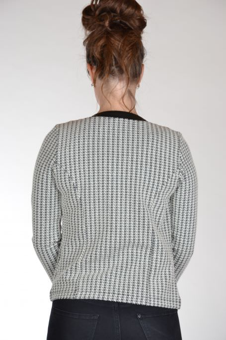 Angelle Milan getailleerde blazer zwart ecru achterkant