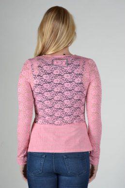 Lulu H roze vest met print en kant achterkant