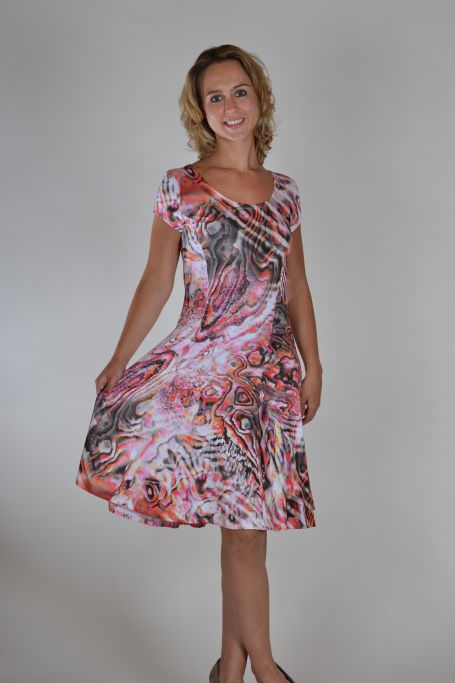 Realize jurk olievlek oranje en roze