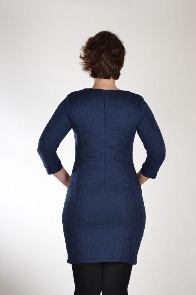 Angelle milan jurk getailleerd blauw relief