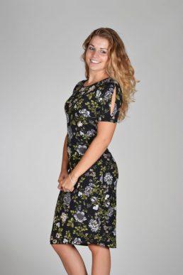Fos jurk zwart bloemprint