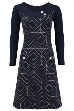 Tante Betsy Dress Twiggy grafisch donker blauw