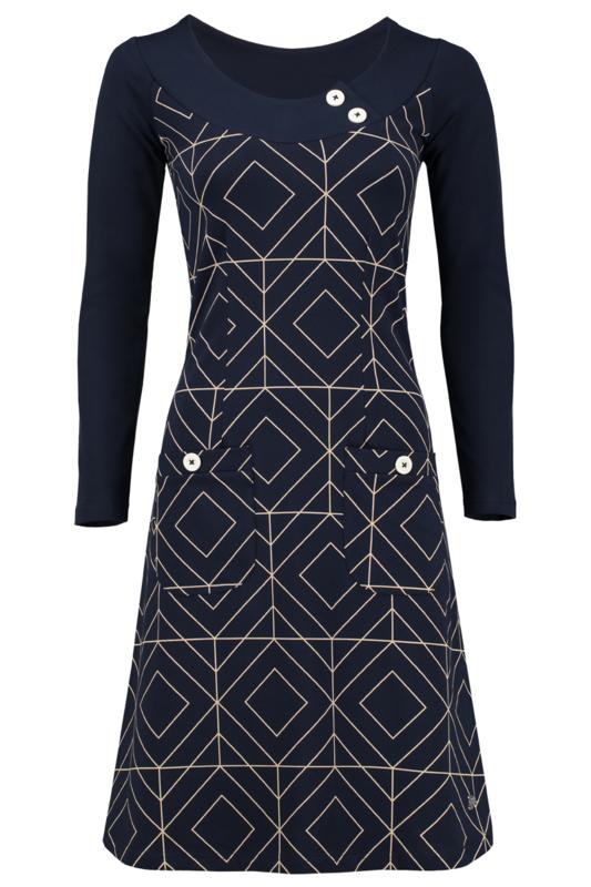 Tante Betsy Dress Twiggy grafisch donker blauw