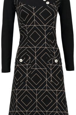 Tante Betsy Dress Twiggy grafisch zwart.