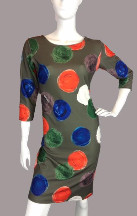 fos jurk groen met kleurrijke stippen