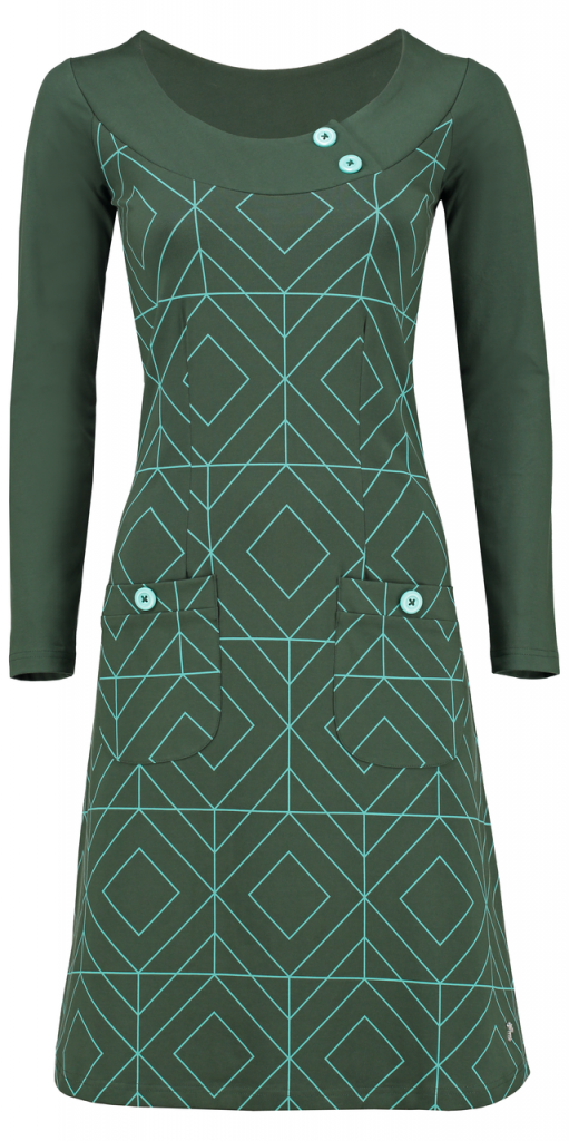 Tante Betsy Dress Twiggy grafisch groen