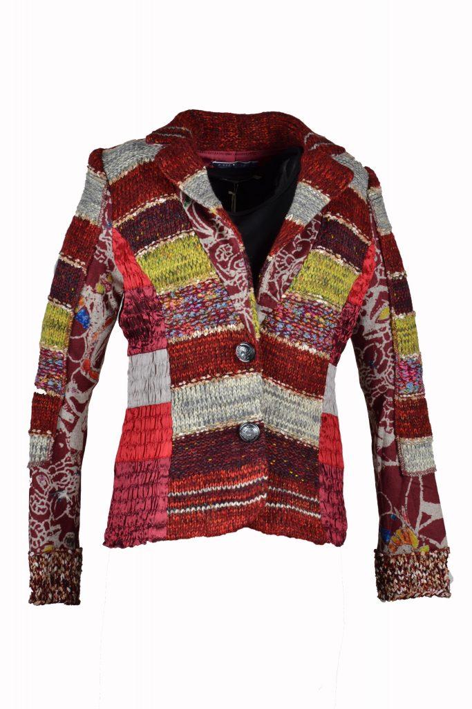 Lulu patchwork blazer bordeaux rood