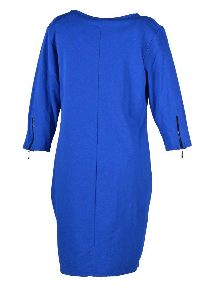 sensi wear jurk rits blauw achterkant