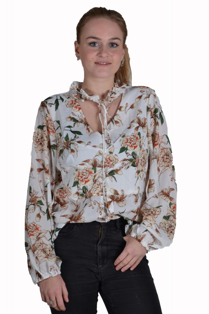 Blueberry blouse voile ecru bloemen