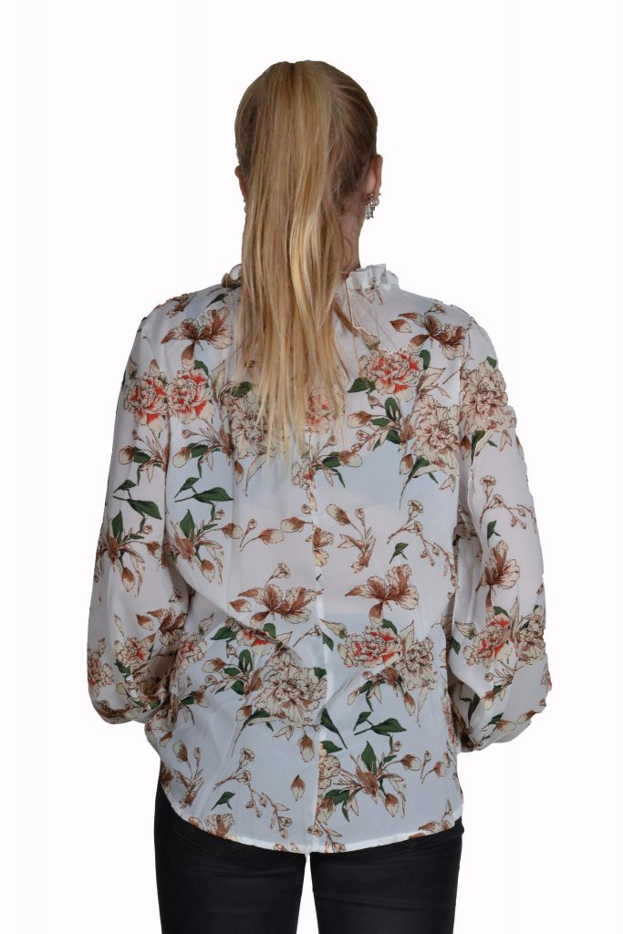 Blueberry blouse voile ecru bloemen achter