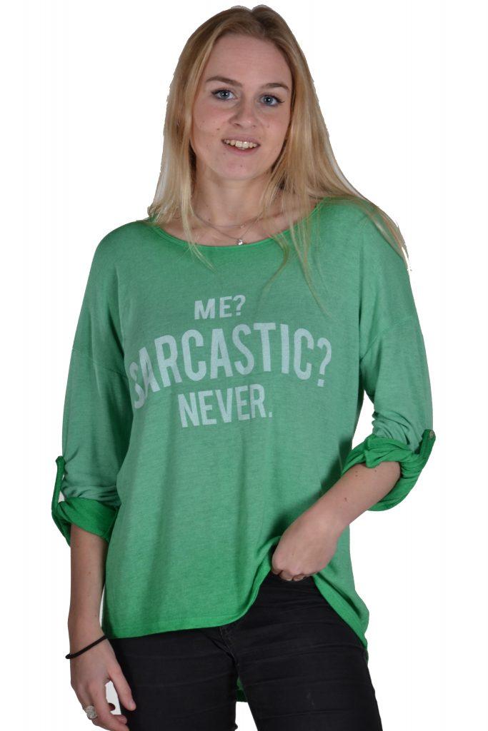 Sensi Wear top Sarcastic groen