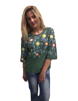 Sensi Wear blouse geborduurd groen