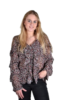 Blueberry blouse voile rouches rood