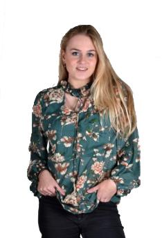 Blueberry blouse voile groen bloemenprint