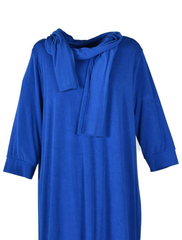 Sensi Wear effen tuniek kobalt met sjaal detail
