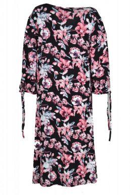 Thombiq jurk zwart met roze en witte bloemen