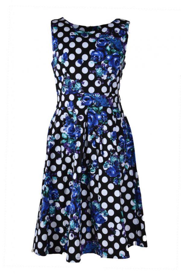 Stella jurk mouwloos blauwe bloem