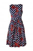 Stella jurk mouwloos rode bloemen achter