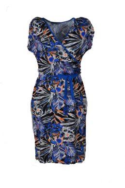 c6fe77eb30c73f Angelle Milan jurk tropische vogel en kobalt blauwe details ...