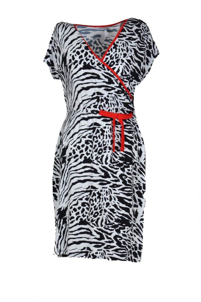 d40ff5473a2332 Angelle Milan jurk overslag met tijgerprint