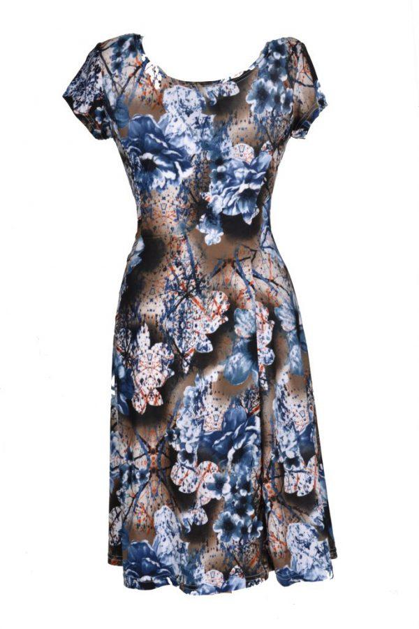 Stella moretti jurk bruine ondergrond blauwe bloem achter