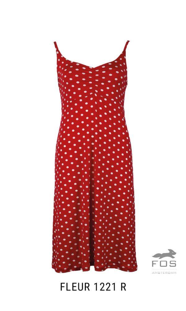 jurk rood met witte stippen