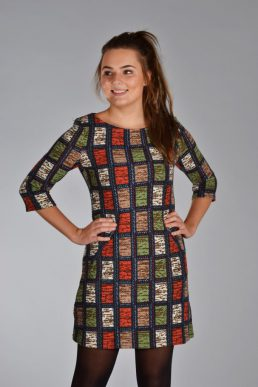 Vegas jurk blokjes rood/groen