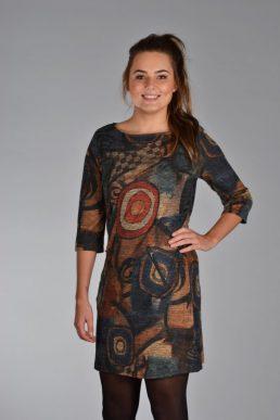 Vegas jurk picasso blauw/bruin