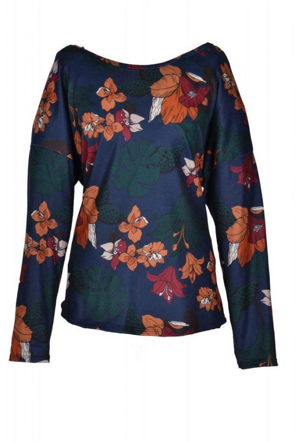 Sensi Wear top exotische bloem blauw