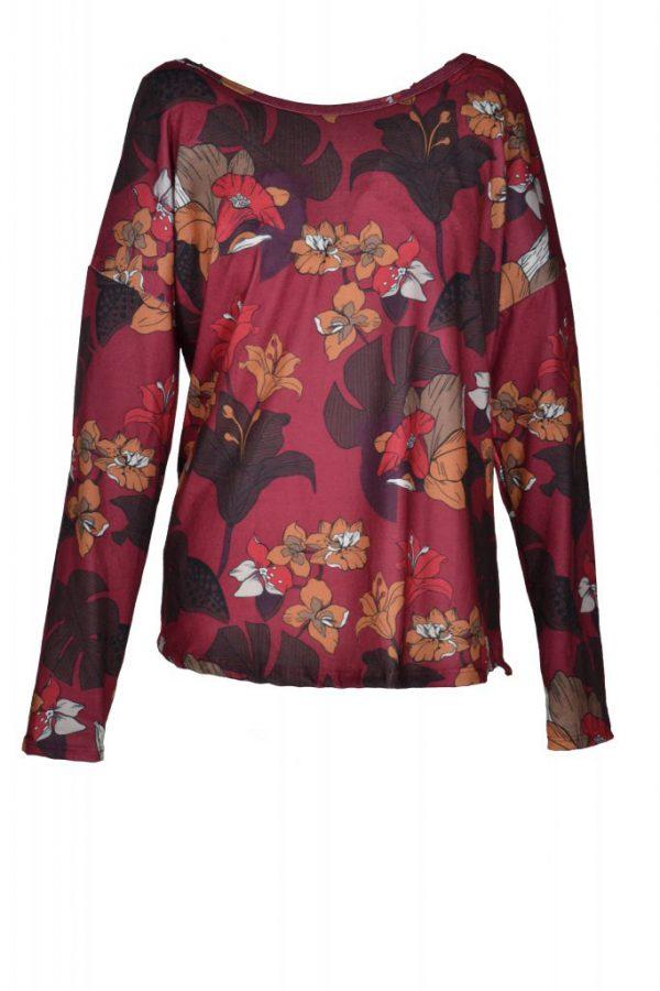 Sensi Wear jurk exotische bloem bordeaux