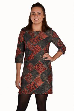 Vegas jurk verschillende dieren printen rood