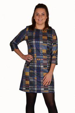 Stella Moretti jurk ruit oker blauw