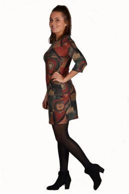Vegas jurk picasso rood/bruin