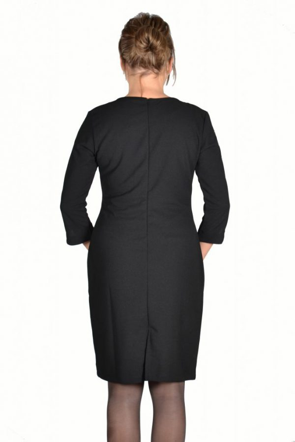 Angelle Milan jurk effen zwart met glitter bies achter