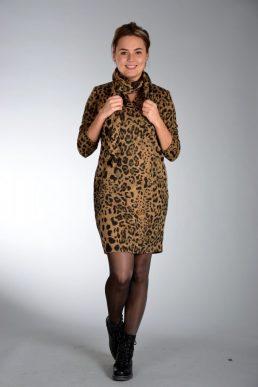 Sensi Wear jurk panter bruin met sjaal