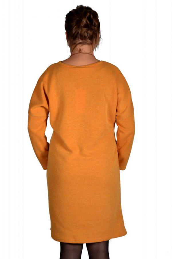 Sensi Wear jurk oversized egaal oker achter