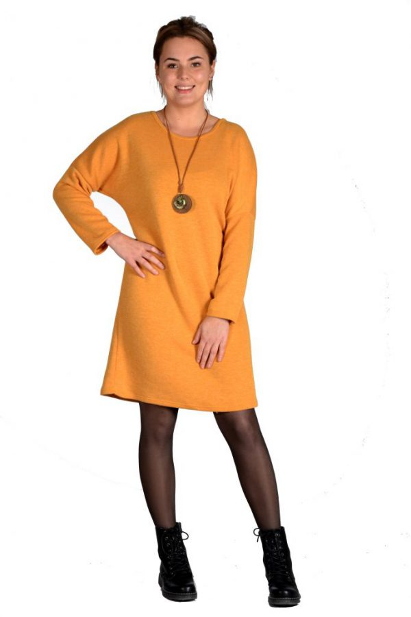 Sensi Wear jurk oversized egaal oker