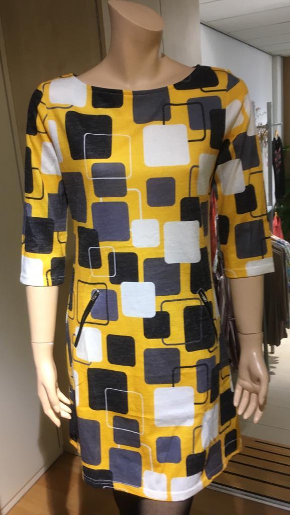 Vegas jurk retro blok geel