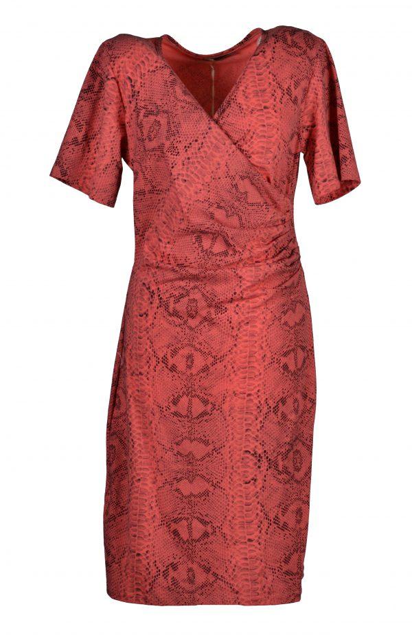 Sensi Wear jurk slangenprint koraal