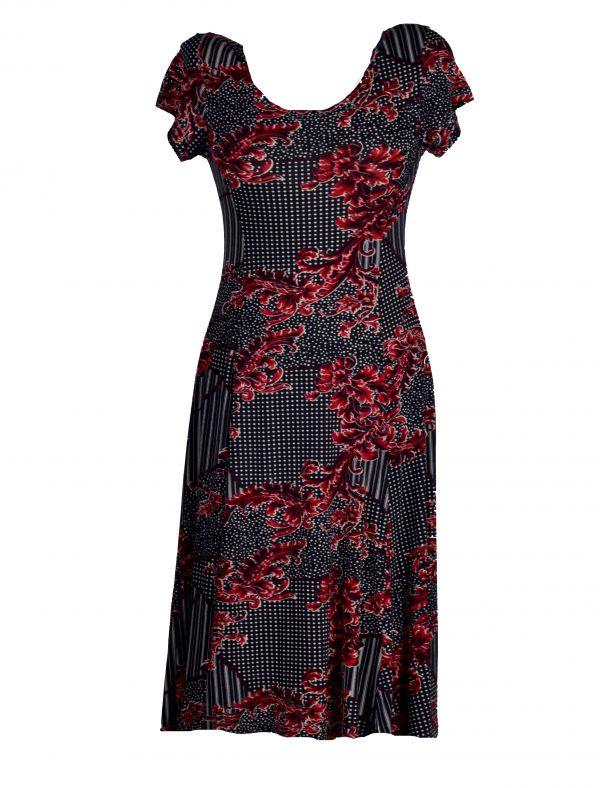 Papillon jurk rode bladerentak voor