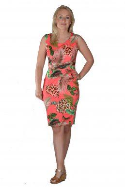 Sensi Wear jurk koraal met tijgerprint bladeren.