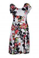 Papillon jurk Zwarte Vegen, Diverse Bloemen