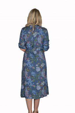 Sensi Wear jurk lang, doorknoop blauw