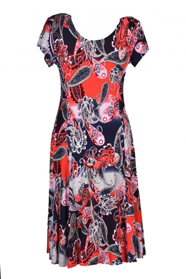 Exclusive jurk Paisley Rood achter