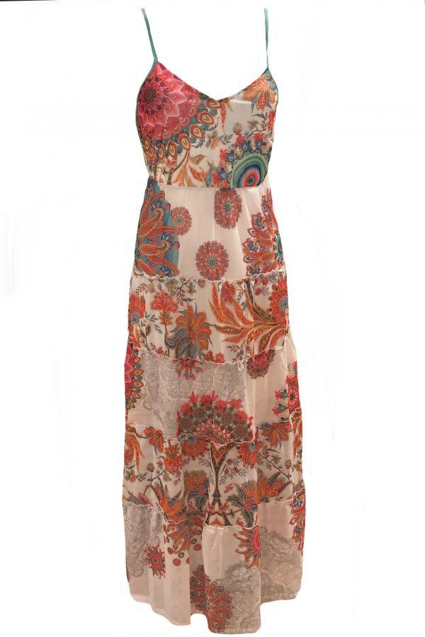 101 Idees jurk lang Gebloemde Rondjes