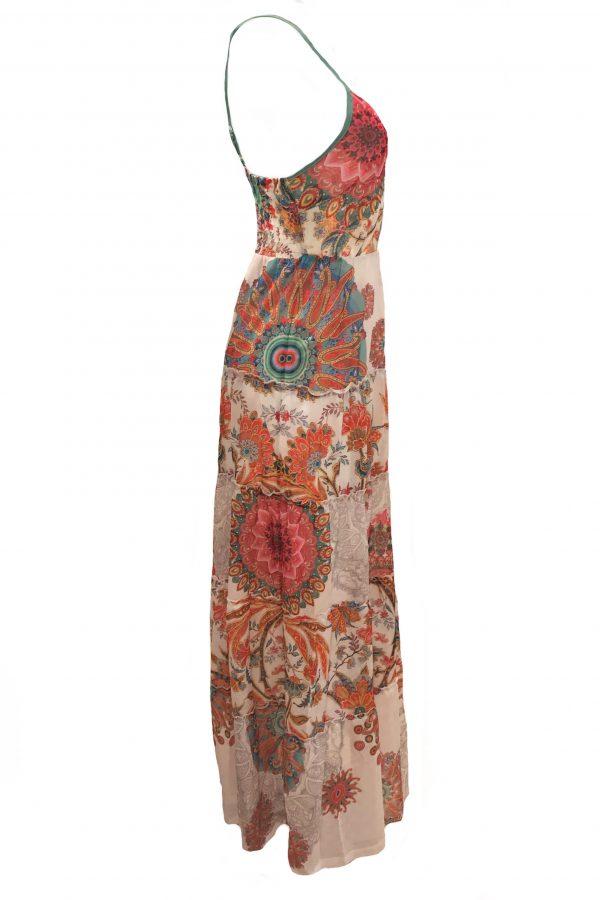 101 Idees jurk lang Gebloemde Rondjes zijkant