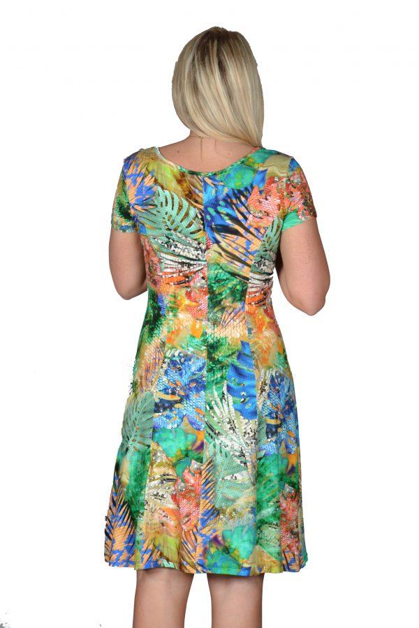 Angelle Milan jurk Exotisch Groen achter