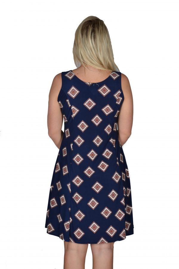 Stella Moretti jurk mouwloos Bruine Ruit achter
