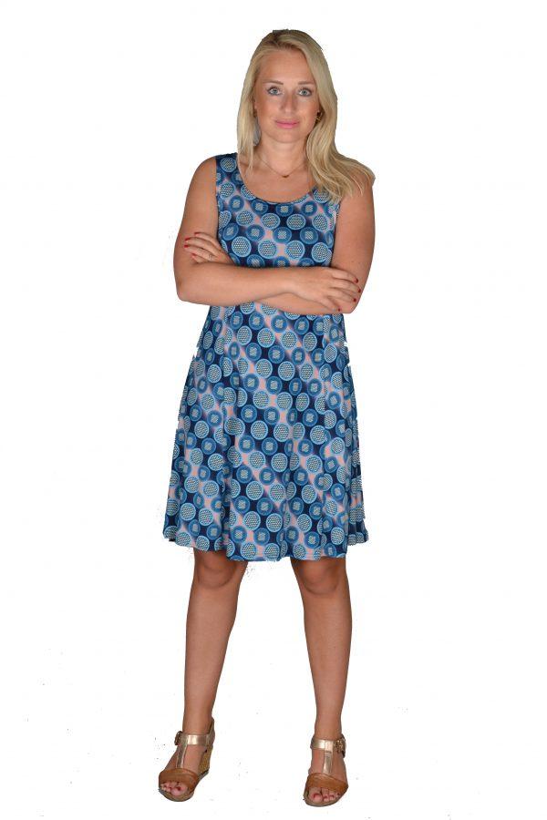 Stella Moretti jurk mouwloos Rondjes Blauw