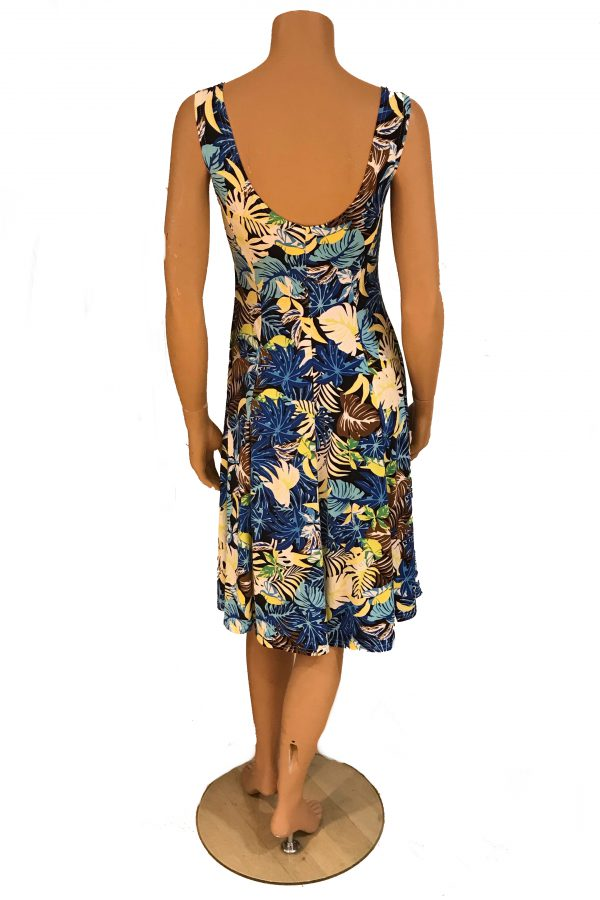Adnice jurk mouwloos Tropische Bladeren achter